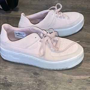 Pink Nike Air Force 1's